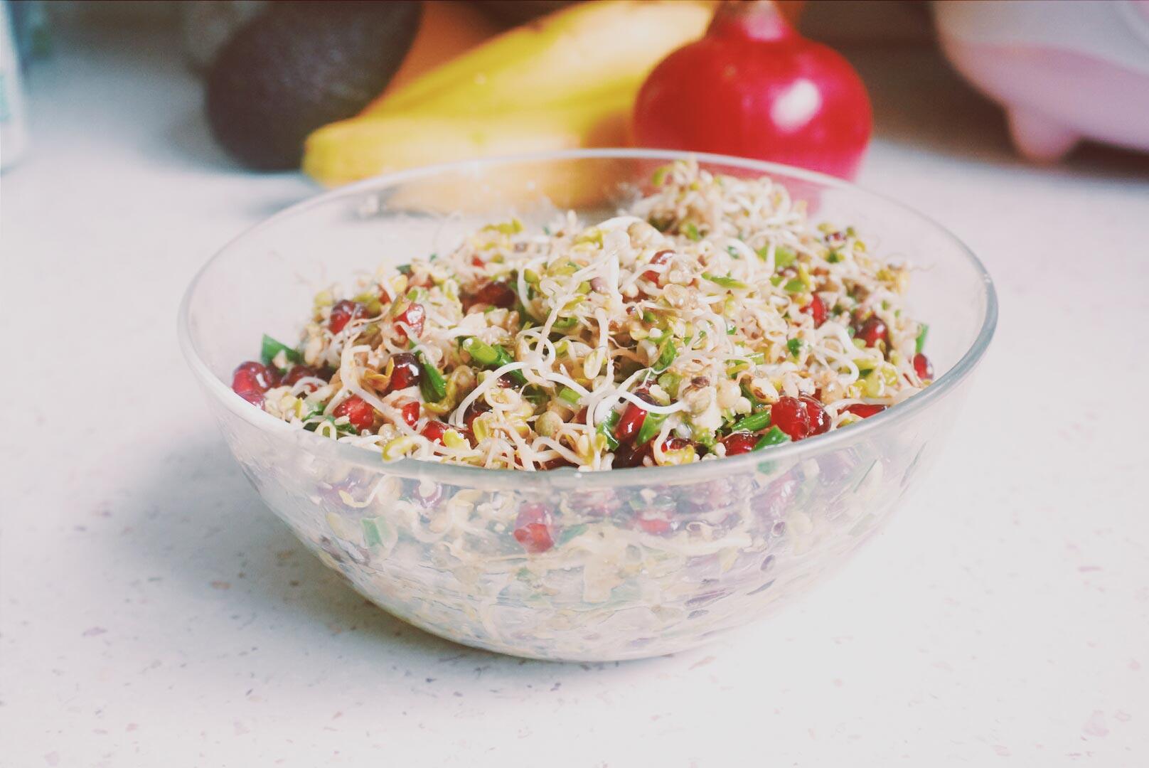 recette vegan salade de graines germ es la grenade. Black Bedroom Furniture Sets. Home Design Ideas