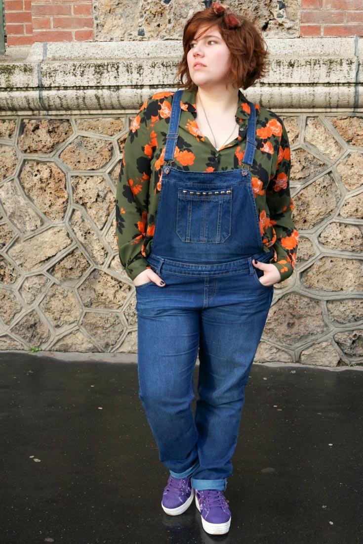 Salopette, ninaah bulles, grande taille, newlook, jean, plussize, fashion, mode, 90's