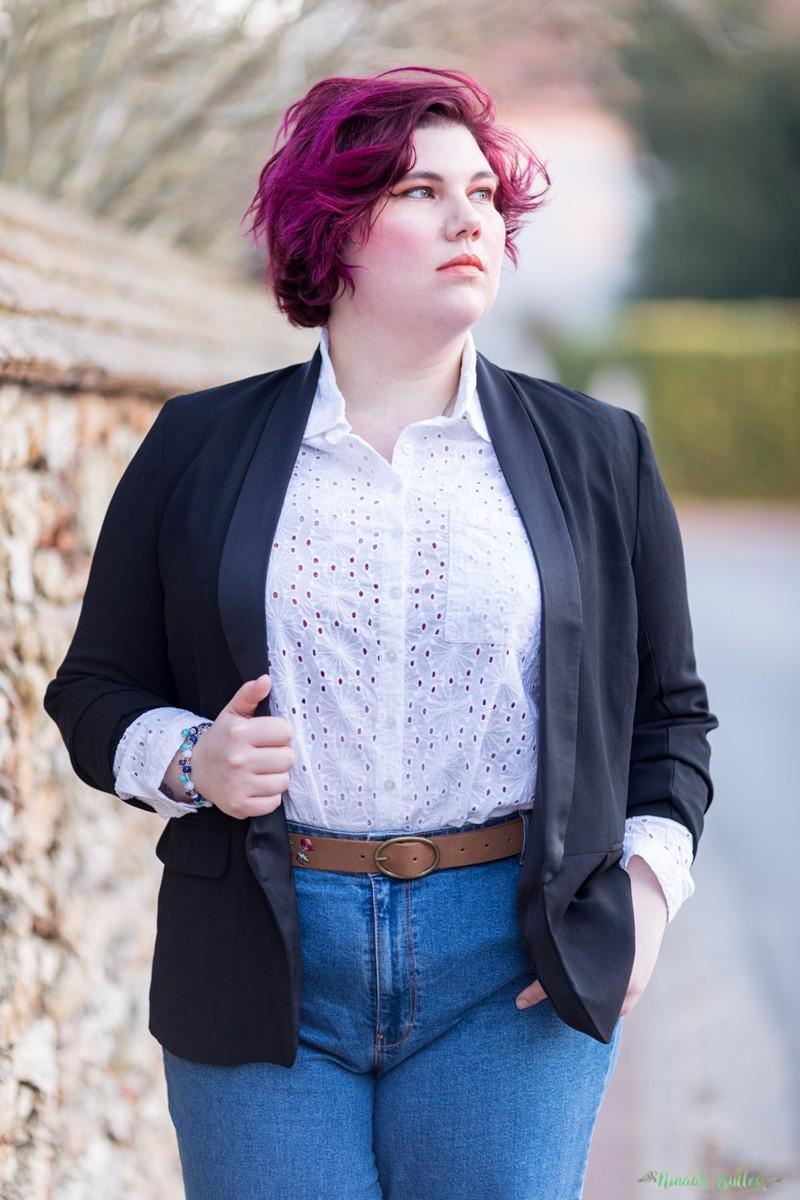 Mode, grande taille, kiabi, mom jeant, blazer, ninaah bulles, curvy, broderie, chemise, casual chic