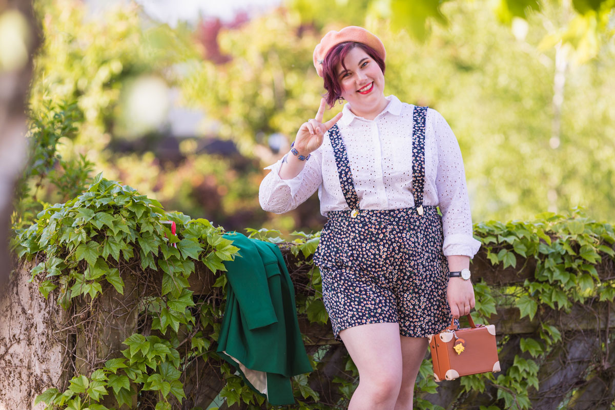 shein plus, shein grande taille, plussize, ninaah bulles, look, mode, outfit; boyish, short, broderie anglaise