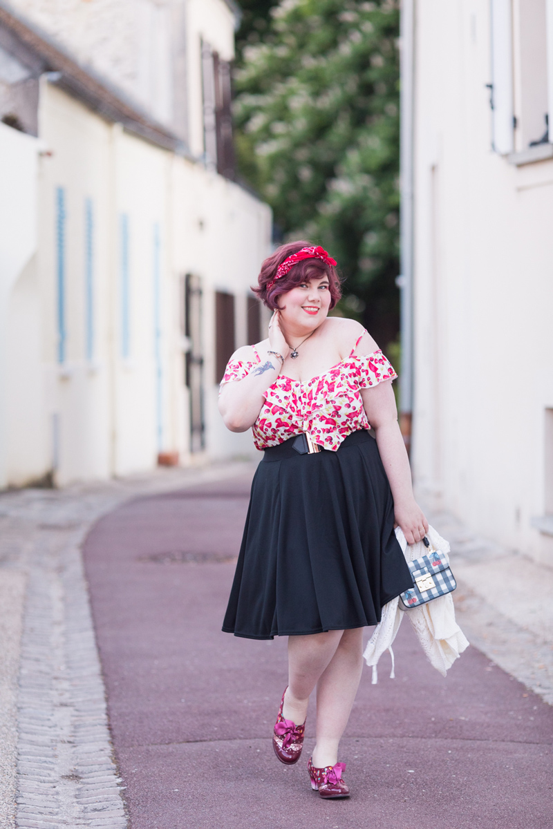 cerise, pasteque, grande taille, mode, blogeuse, look, pinup, ninaahbulles, jupe noir, yours