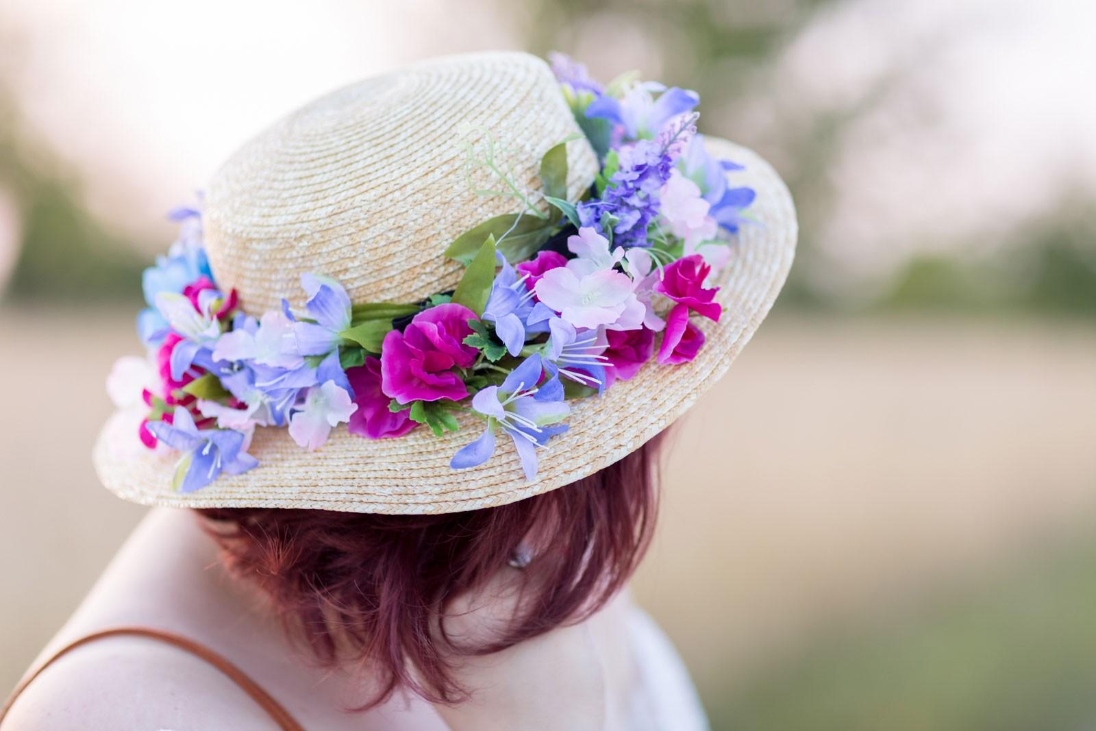 Ninaah bulles, shein grande taille, impressionniste, mlle.botanik, blogeuse, look, diy, couture, jupe, bucolique, chapeau, canotier, fleurs, été