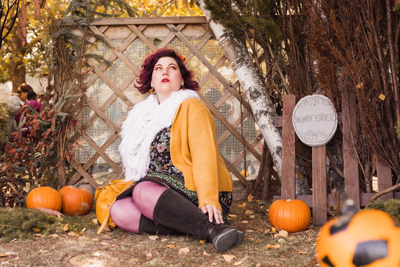 ninaah bulles, isabella, blancheporte, grande taille, plussize, automne, halloween, moutarde, blog mode
