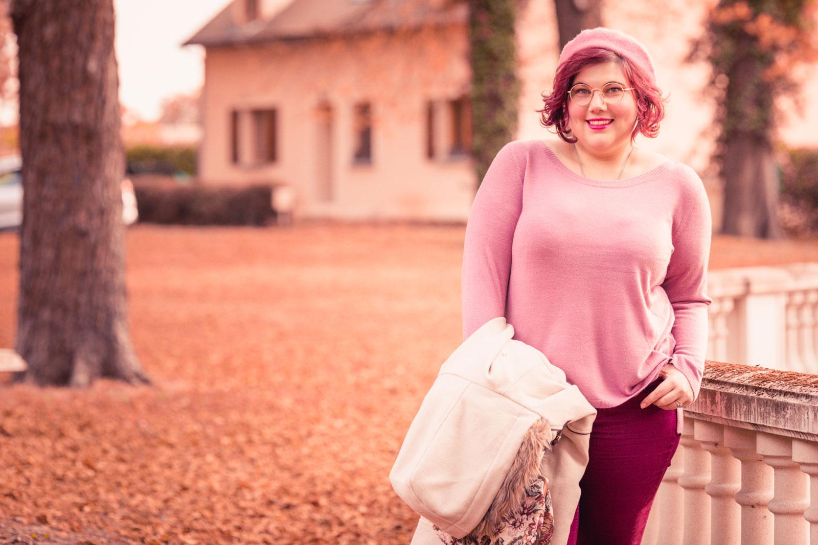 ninaah bulles, mode, grande taille, plussize, curvy, rose ronde, manteau, automne, parfum, mignonnerie