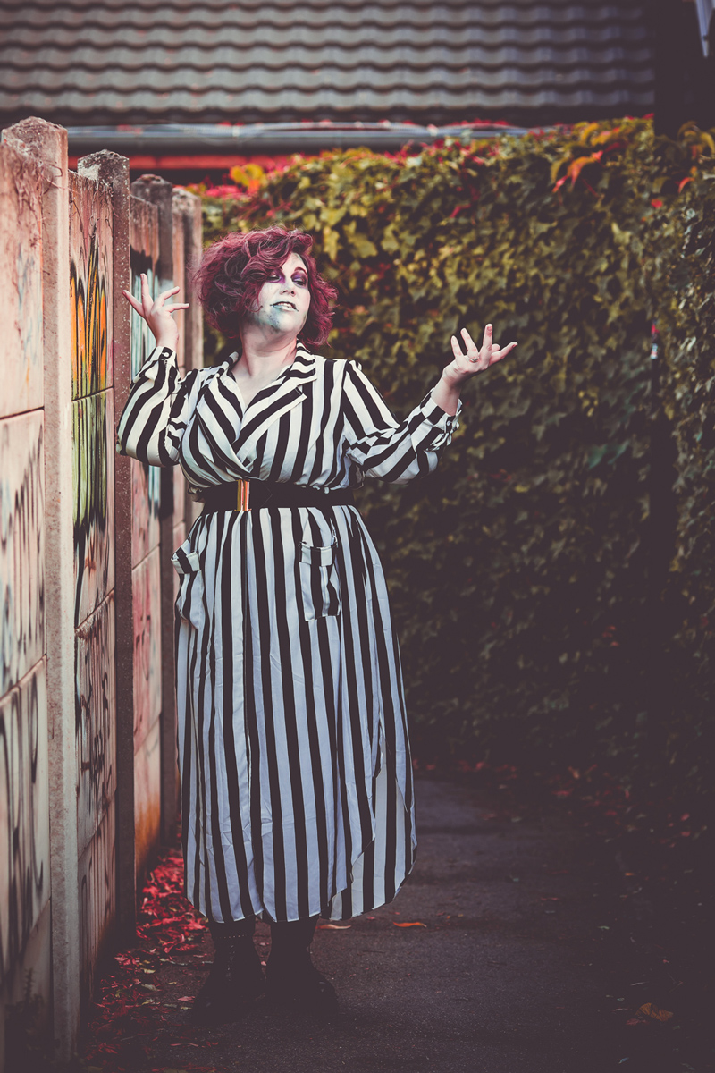 Beetlejuice, ninaah bulles, halloween, costume, maquillahe, shein grande taille, plussize