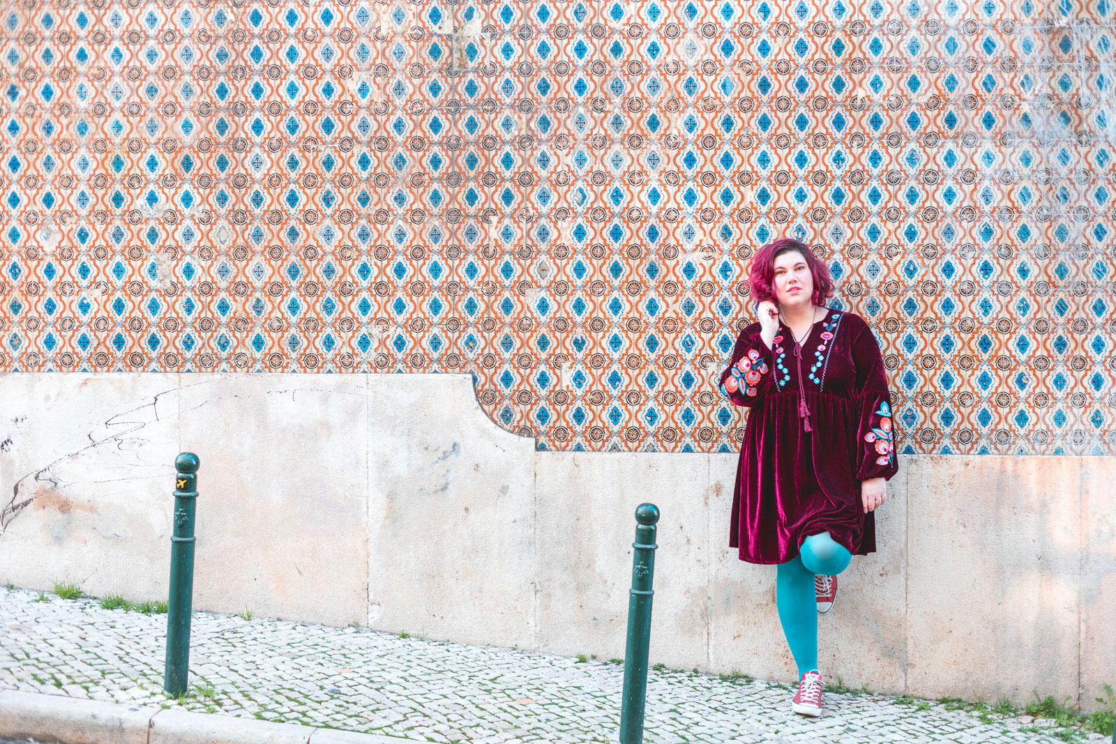 ninaah bulles, robe, grande taille, shein, plussize, look, portugal, alfama, love, amour, velours