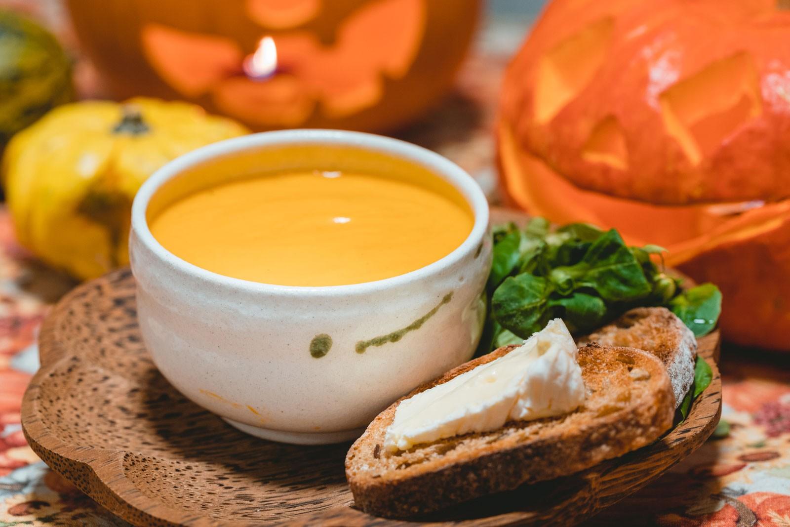 ninaah bulles, citrouilles, citrouille, halloween, recette, velouté, patate douce, lait de coco, soupe